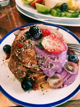 """Healthy Pancakes"" for breakfast at Flax & Kale"