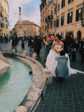 Newlyweds at the Spanish Steps